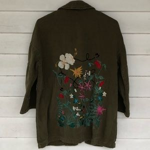 Medium olive green floral embroidery jacket